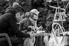 Judges with Chronometers Timing the Static Performances. MONTREAL, CIRCA JUNE 2014 - Two Hot Spring Days of Freediving Competition at Jean-Drapeau 50m Outdoor stock photo