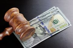 Judges Gavel And Dollar Cash  On The Black Table Stock Photography