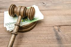 Judges gavel euro banknotes Auctioneer hammer. Judges gavel and euro banknotes. Auctioneer hammer with soundboard stock images