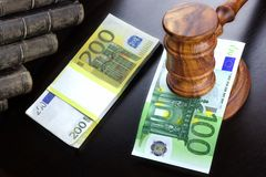 Judges Gavel And Euro Cash  On The Black Table Stock Photography