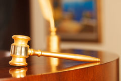 Judges Gavel. Juridical concept with hammer and pen , selective focus on metal part stock images