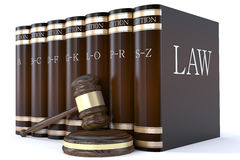 Judges gavel and law books. 3d Judges gavel and law books Royalty Free Stock Images