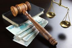 Judges Gavel,  Scale, Old Book And  Russian Cash On Table Royalty Free Stock Photos