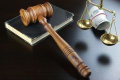 Judges Gavel,  Scale, Old Book And  Russian Cash On Table Royalty Free Stock Image