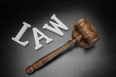 Judges Gavel And Sign Law On Wood Background, Top View Stock Images