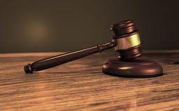 A judges gavel on soundblock or anvil Stock Image