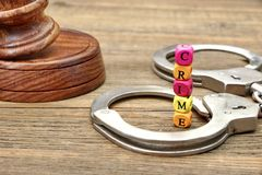 Judges Gavel, Soundboard,  Handcuffs and Sign CRIME Royalty Free Stock Photo