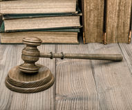 Judges gavel with soundboard old books Royalty Free Stock Photo