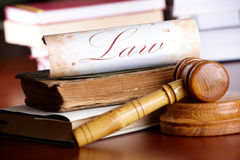 Free Judges Gavel With Very Old Books Stock Photos - 13976593