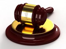 Judges hammer. With a gold insert and a labeled of justice Royalty Free Stock Photography