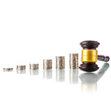 Judges law gavel with coins Royalty Free Stock Photo