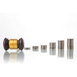 Judges law gavel with coins Royalty Free Stock Photos