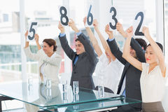 Judges in a row holding score signs Royalty Free Stock Photos