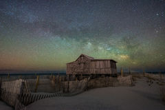 Judges Shack under the Milky Way Galaxy. Old abandoned shack in New Jersey under the night sky Royalty Free Stock Photography