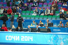 Judges and spectators at short-trek final competition XXII Winter Olympic Games Sochi 2014 stock photos