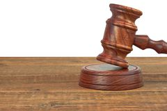 Judges Wood Desk With Gavel On The Sound Board Isolated Stock Photography