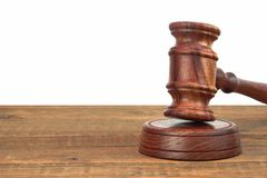Judges Wood Desk With Gavel On The Sound Board Isolated Stock Images