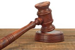 Judges Wood Desk With Gavel On The Sound Board Isolated Royalty Free Stock Photo