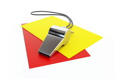Judging  football. Judging, whistle, red card isolated on a white background Royalty Free Stock Photography