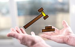 Concept of judgment. Judgment concept above the hands of a man stock photo