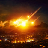 Judgment day, end of world, asteroid impact. Dramatic apocalyptic background - judgment day, end of world, asteroid impact destroying city Stock Photography