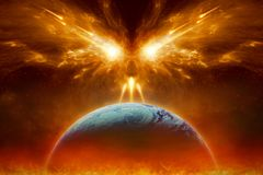 Judgment day, end of world, complete destruction of planet Earth Royalty Free Stock Image