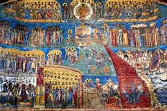 The judgment day fresco Voronet, Romania. The judgment day fresco on western wall of Voronet monastery, a unesco heritage site, Suceava county, Romania Royalty Free Stock Photo