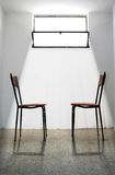 Judgment Day Meeting. / Two Chairs Forehead Looking / Light Backlight Stock Image