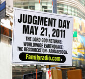 Judgment day sign. Some people believe that Judgment day will happen on may 21,2011 Stock Photo