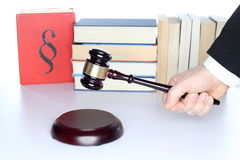 Judgment decision. With symbolic gavel on a desk Stock Images