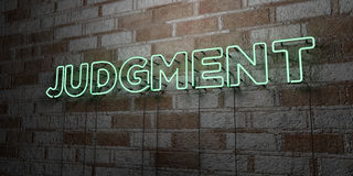 JUDGMENT - Glowing Neon Sign on stonework wall - 3D rendered royalty free stock illustration. Can be used for online banner ads and direct mailers stock illustration