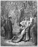Judgment of Solomon. Picture from The Holy Scriptures, Old and New Testaments books collection published in 1885, Stuttgart-Germany. Drawings by Gustave Dore stock photography