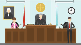 Judical court interior. Witnesses with guilty people, lawer and judge stock illustration