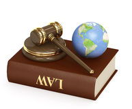 Judicial 3d gavel and Earth. Objects over white Royalty Free Stock Photos