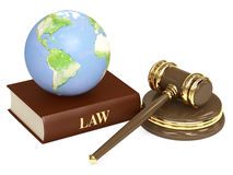 Judicial 3d gavel and Earth Royalty Free Stock Images