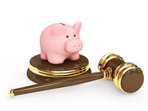 Judicial 3d gavel and piggy bank Royalty Free Stock Photography