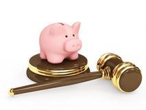 Judicial 3d gavel and piggy bank Royalty Free Stock Photography