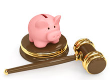 Judicial 3d gavel and piggy bank Royalty Free Stock Photos