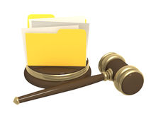 Judicial gavel and folder Royalty Free Stock Photos