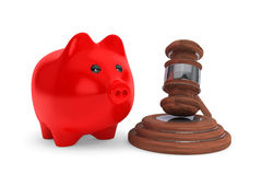 Judicial gavel and piggy bank Royalty Free Stock Photography
