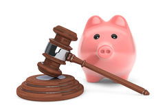 Judicial gavel and piggy bank Royalty Free Stock Images