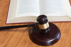 Judicial hammer and the  book Royalty Free Stock Photography