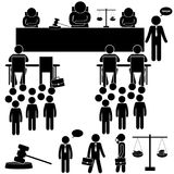 Judicial Background with Judge & Lawyer. Stick Figure. Judicial Hearing Background with Judge & Lawyer. Stick Figure Pictogram Icon Stock Photos