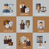 Judicial System Colored Icon Set Stock Photography