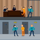 Judicial System Horizontal Banners. With people in court session police officers and defendant near prison cell vector illustration Royalty Free Stock Photography