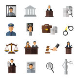 Judicial System Icon Set Stock Photo