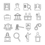 Judicial System Icon Set Royalty Free Stock Image