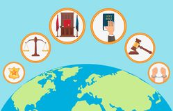 Judicial System Symbols Flat Vector Illustration stock illustration