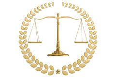 Judicial weight golden laurel wreath and balance isolated on white background. 3D illustration.  stock illustration