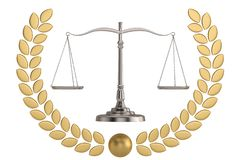 Judicial weight golden laurel wreath and balance isolated on white background. 3D illustration.  vector illustration
